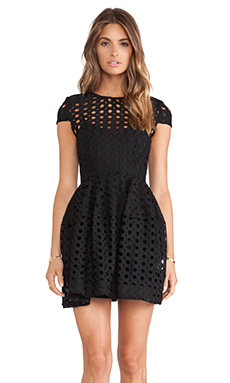 NICHOLAS Circle Lace Cap Sleeve Dress in Black