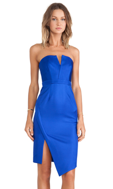 BONDED SILK STRAPLESS DRESS