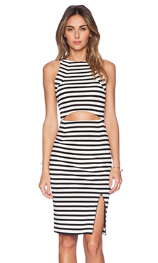 NICHOLAS Stripe Cut Out Dress in White & Black