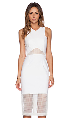 NICHOLAS Mesh Panelled Dress in Ivory