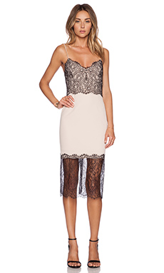 NICHOLAS Lace Trim Dress in Nude