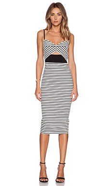 NICHOLAS Breton Stripe Bra Dress in White & Black