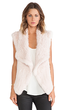 NICHOLAS Knitted Rabbit Fur Vest in Blush