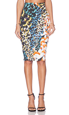 NICHOLAS Denim Zip Skirt in Spring Floral
