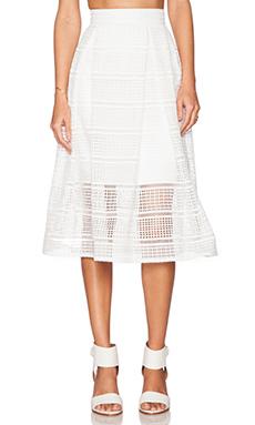 NICHOLAS Diamond Lace Ball Skirt in White