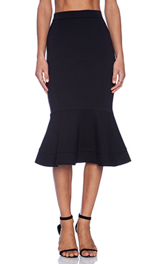 NICHOLAS Ruffle Hem Skirt in Black