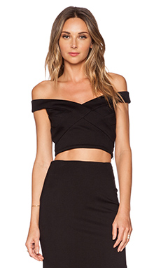 NICHOLAS Cross Front Off Shoulder Crop Top in Black