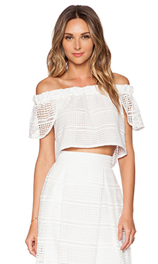 NICHOLAS Diamond Lace Off Shoulder Top in White