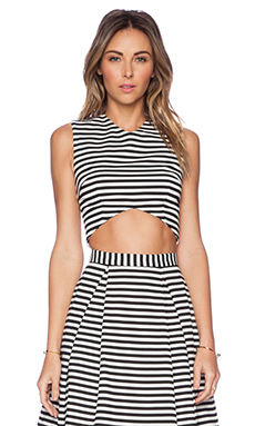 NICHOLAS Stripe Ponti V Crop Top in White & Black