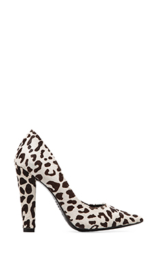 NICHOLAS Darcy Pump with Cow Fur in Black/White Leopard