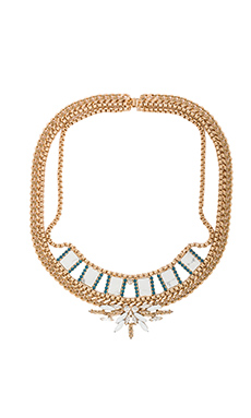 Nicole Meng Flowery Collar in Gold & Crystal