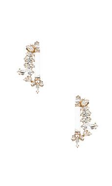 Nicole Meng Flowery Earrings in Gold & Clear