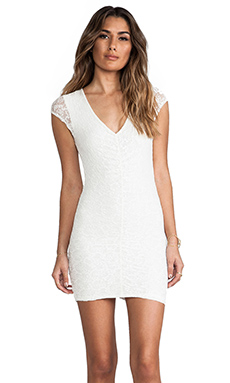Nightcap Ruched Rosette Dress in White