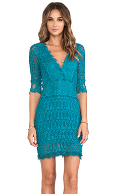 Nightcap Florence Lace Deep V Dress in Peacock