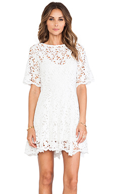 Nightcap Daisy Crochet Fit and Flare Dress in White