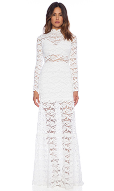 Nightcap Dixie Lace Long Sleeve Gown in White