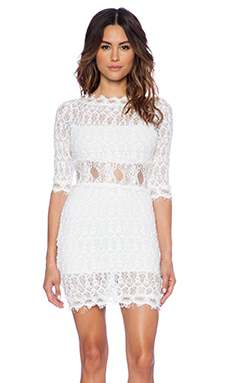 Nightcap Florence Lace V Back Dress in White