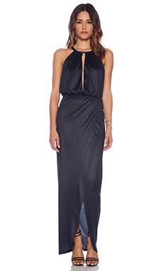 Nightcap Sueded Halter Gown in Midnight