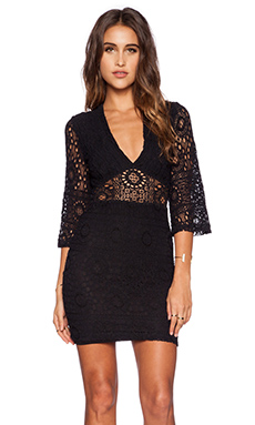 Nightcap Kimono Cutout Mini Dress in Black
