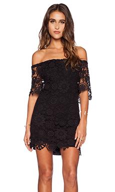 Nightcap Caribbean Crochet Off Shoulder Dress in Black