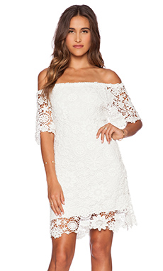 Nightcap Caribbean Crochet Off Shoulder Dress in White