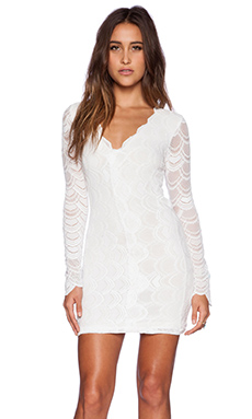 Nightcap Victorian Lace Long Sleeve Dress in Dove