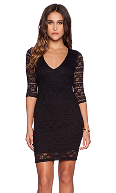 Nightcap Cherokee Stripe Lace Deep V Dress in Black