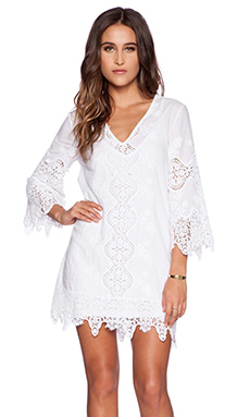 Nightcap Embroidered Caftan in White