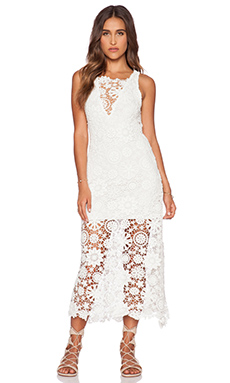 Nightcap Caribbean Crochet Flare Dress in White