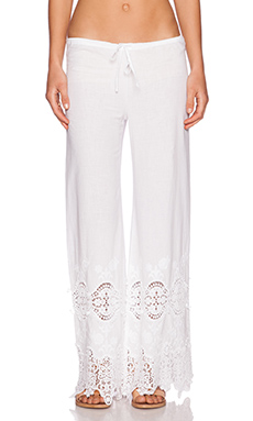 Nightcap Embroidered Drawstring Pant in White