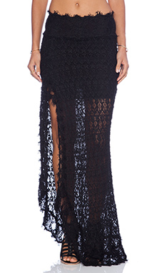 Nightcap Florence Lace High Slit Skirt in Black