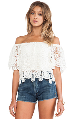 Nightcap Carmen Crochet Top in Natural