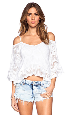 Nightcap Crochet Ruffle Blouse in White