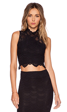 Nightcap Victorian Lace Crop Top in Black