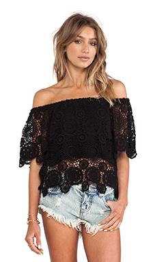 Nightcap Carmen Crochet Top in Black