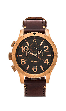 Nixon The 48-20 Chrono Leather in Rose Gold & Brown