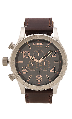 Nixon The 51-30 Chrono Leather in Gray & Rose Gold