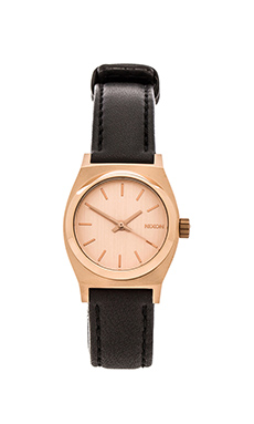 Nixon The Small Time Teller Leather in Rose Gold & Black