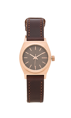Nixon The Small Time Teller Leather in Rose Gold & Gunmetal