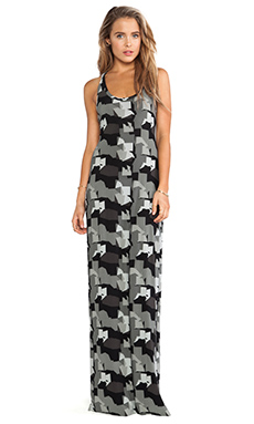 Norma Kamali KAMALIKULTURE Racer Maxi Dress in Grey Camo