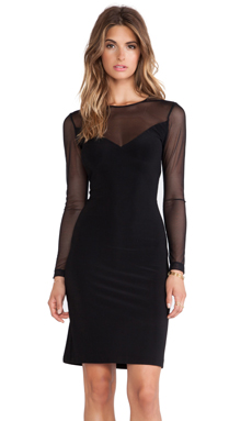 Norma Kamali KAMALIKULTURE V Insert Combo Dress in Solid Black
