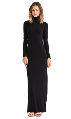 Norma Kamali KAMALIKULTURE Turtleneck Maxi Dress in Solid Black