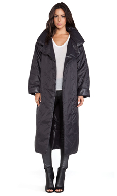 Active by Norma Kamali Reversible Classic Long Narrow Coat in Black