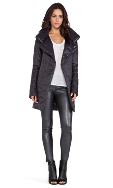 Active by Norma Kamali Reversible Narrow To The Knee Coat in Black