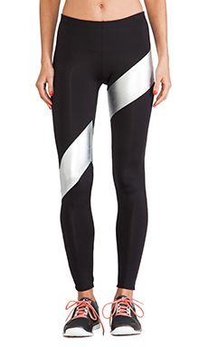 Active by Norma Kamali Spliced Diagonal Legging in Black & Silver Foil
