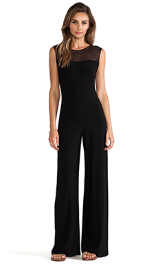 Norma Kamali KAMALIKULTURE Sleeveless Mesh Combo Jumpsuit in Solid Black