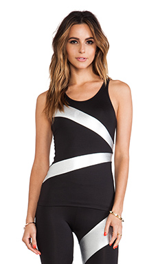 Active by Norma Kamali Spliced Racer Tank in Black & Silver Foil