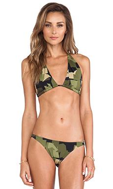 Norma Kamali KAMALIKULTURE Eric Bikini Top in Olive Camo
