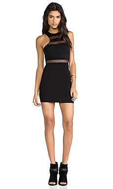 Nookie Beach Monochrome Mesh Racer Dress in Black