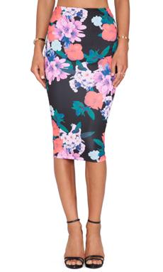 Nookie Secret Garden Pencil Skirt in Dark Floral